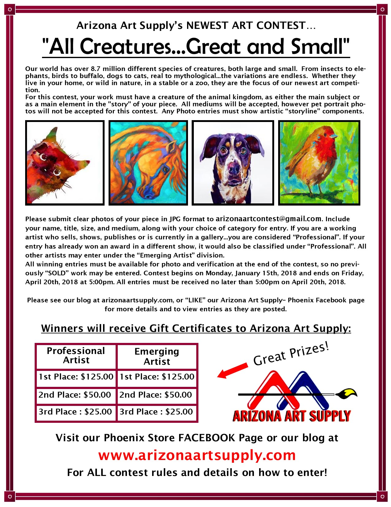"NEW Contest ""All Creatures Great and Small"" Arizona Art Supply"